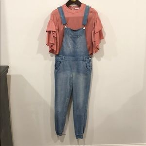 Overall Joggers with Pink Silky Top